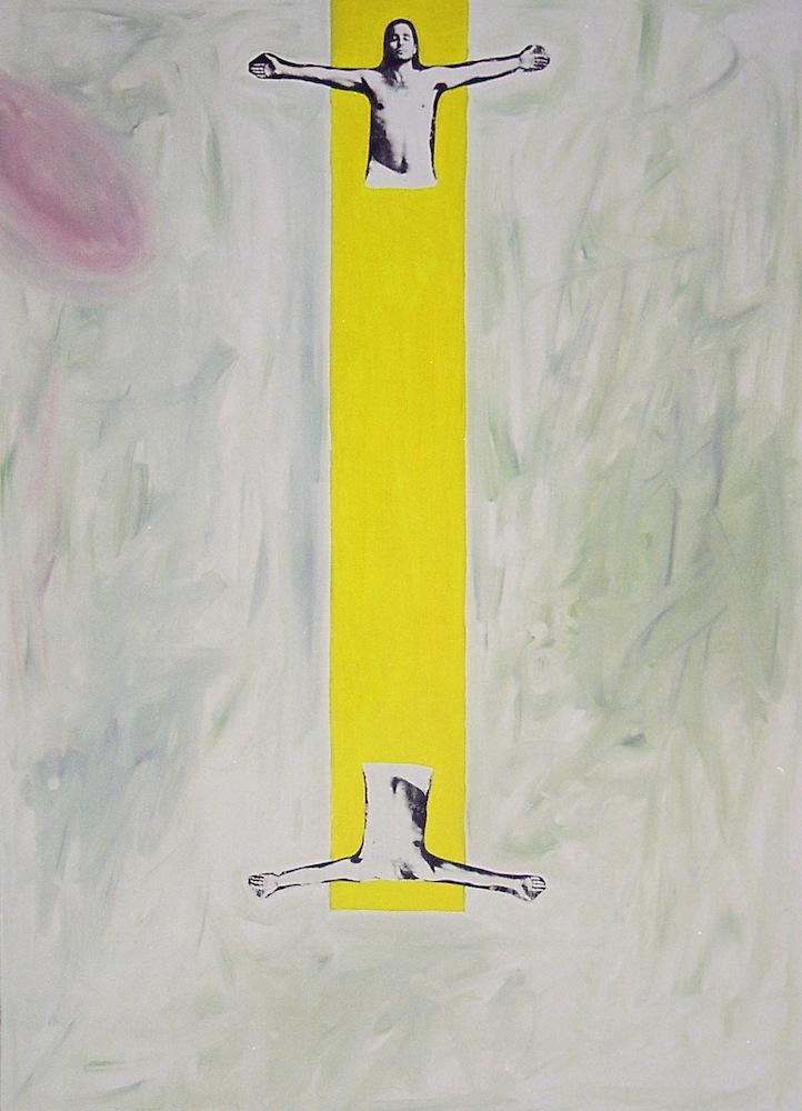 Pelikortti I 1996, öljyväri, serigrafia levylle, 140x100 cm